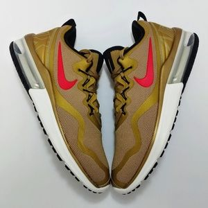 NIKE AIR MAX FURY SHOES METALLIC GOLD RED